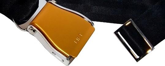 Flugzeuggürtel in Silber-Gold / Schwarz