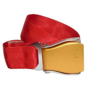 Flugzeuggürtel in Silber-Gold / Rot