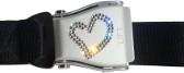 Flugzeuggürtel in Silber / Herz Design